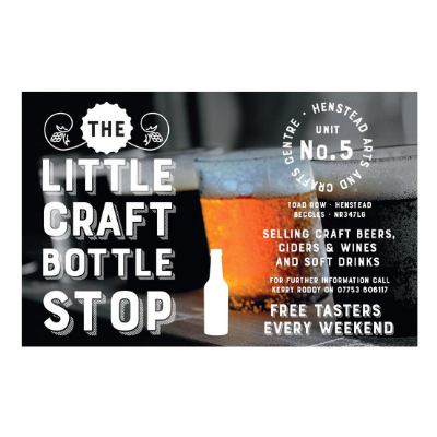The Little Craft Bottle Stop Bottle business card - Metachick Marketing